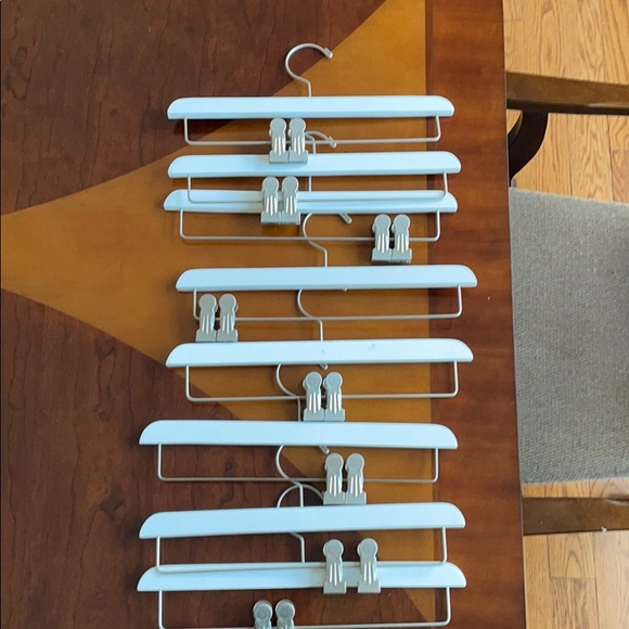 White wood pant hangers 14 inches